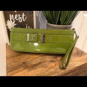 Via Spiga Patent Leather Avocado Clutch w/ Buckle